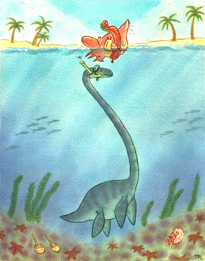 Snorkelsaurus   Featuring Triceratops and Pleisiosaur  Noodler's Ink on Arches Watercolor 300lb Coldpress