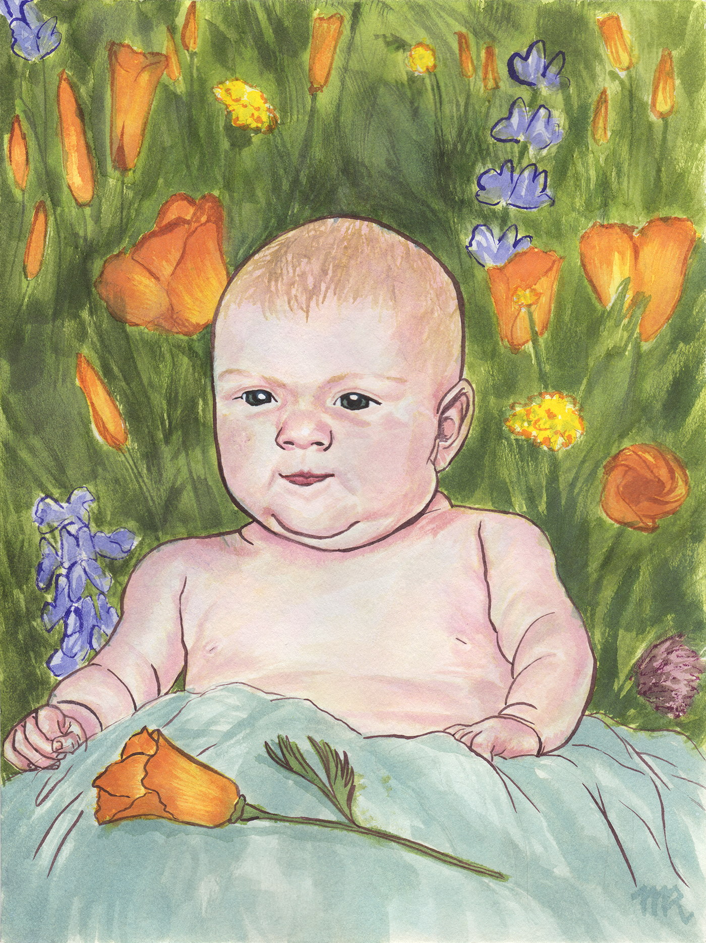 "Portrait of baby Charlotte   Noodlers Ink on 11"" x 17"" watercolor paper"