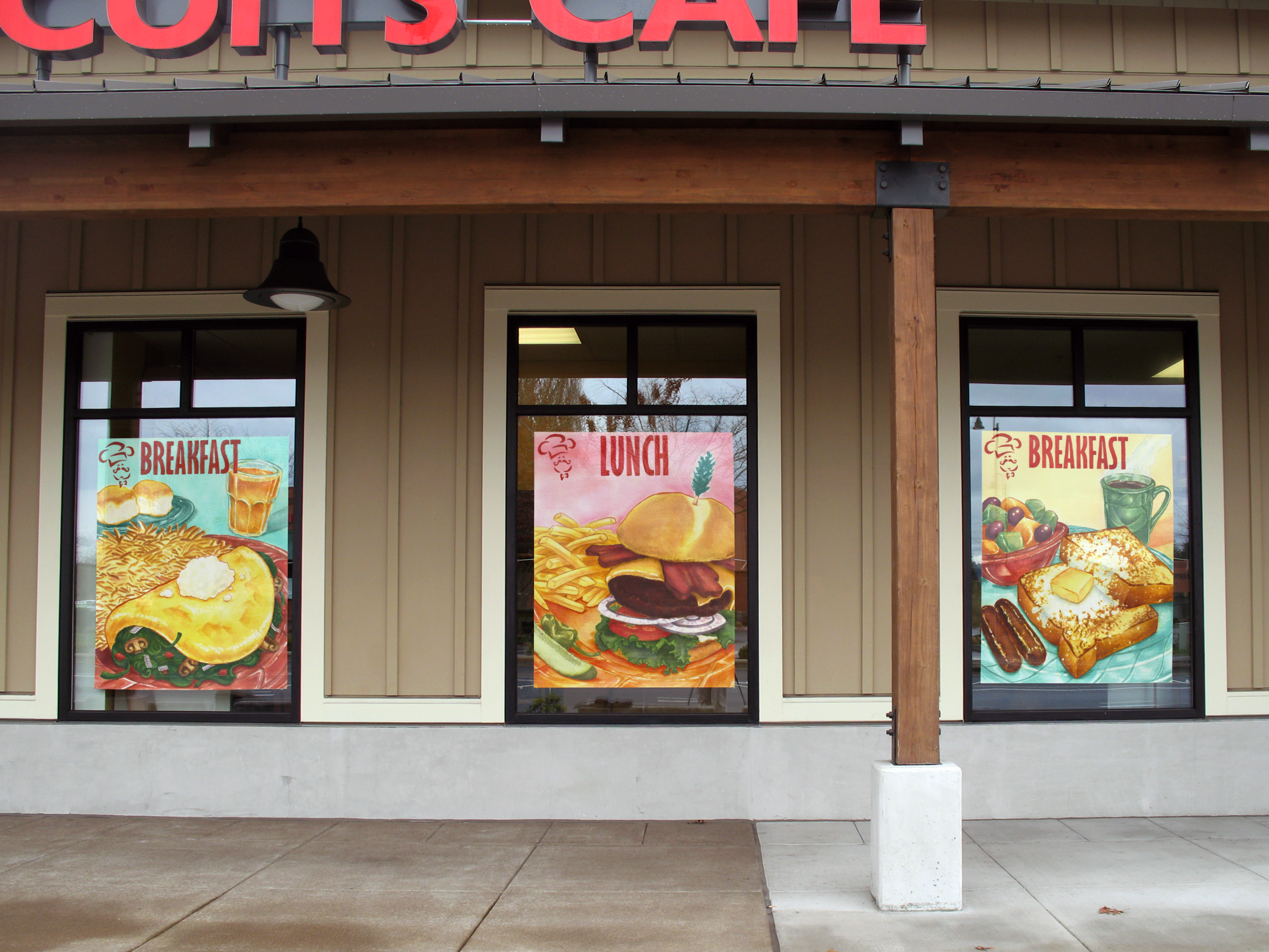The Biscuits Cafe Series was custom designed and printed on 4'x5' vinyl banners and installed in the Wilsonville location's windows.