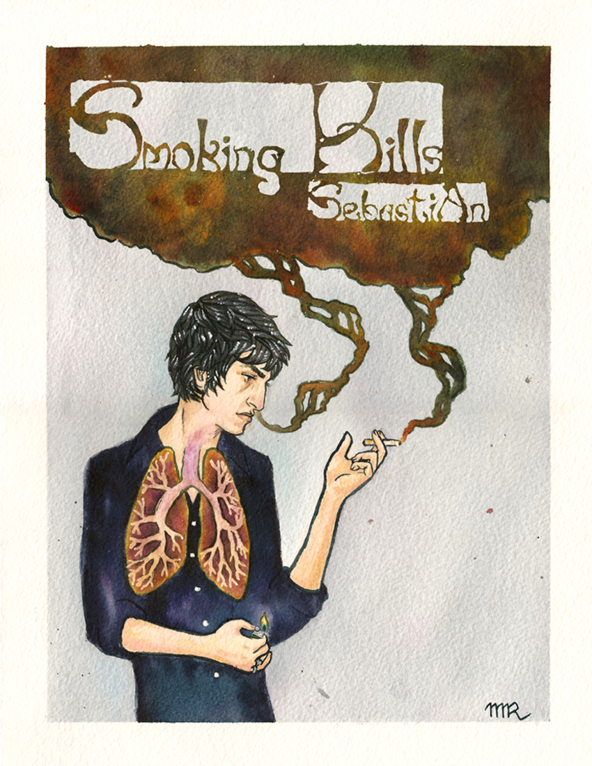 SebastiAn: Smoking Kills   Portrait of the artist based on the EP of the same name  Noodler's Ink on Arches Watercolor