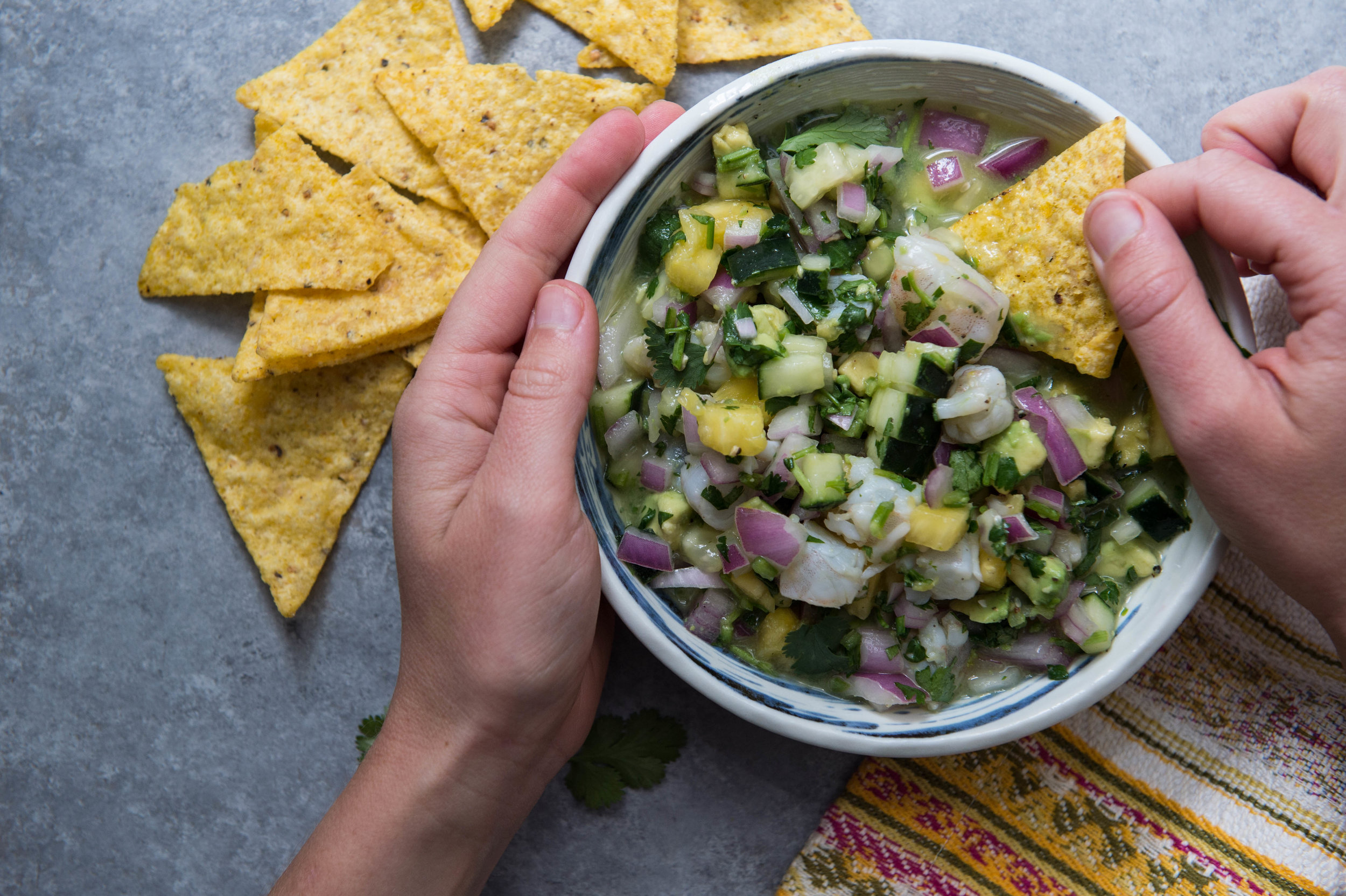 Shrimp and pineapple ceviche