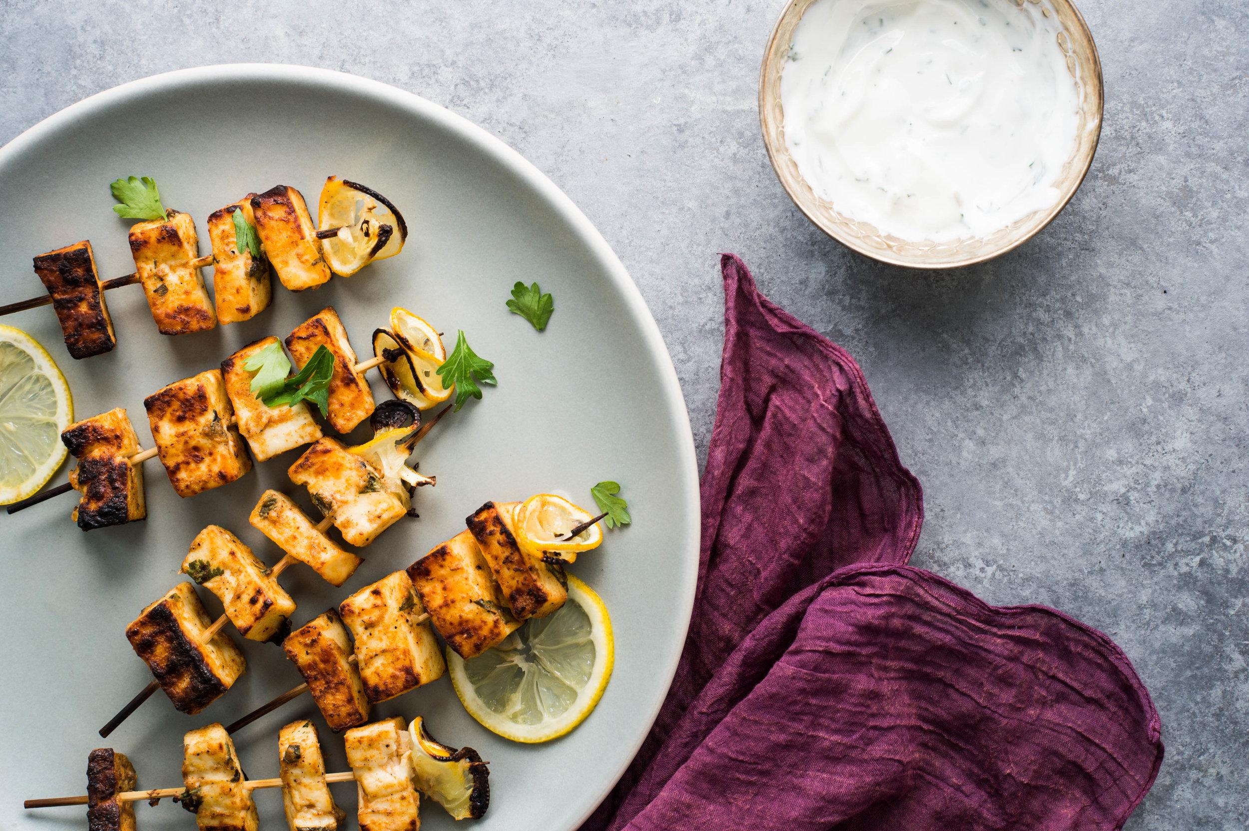 Easy lemon saffron paneer kebabs