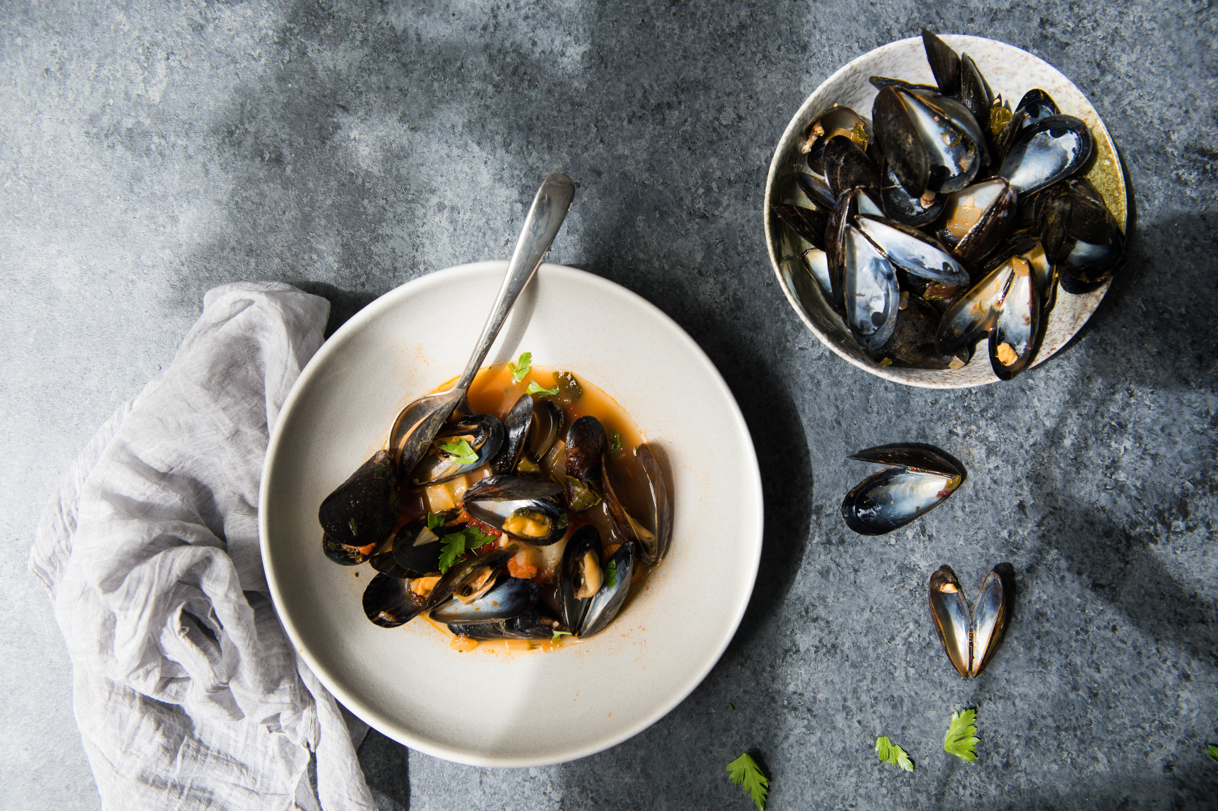 One-pot mussels in tomato, chard and herb broth