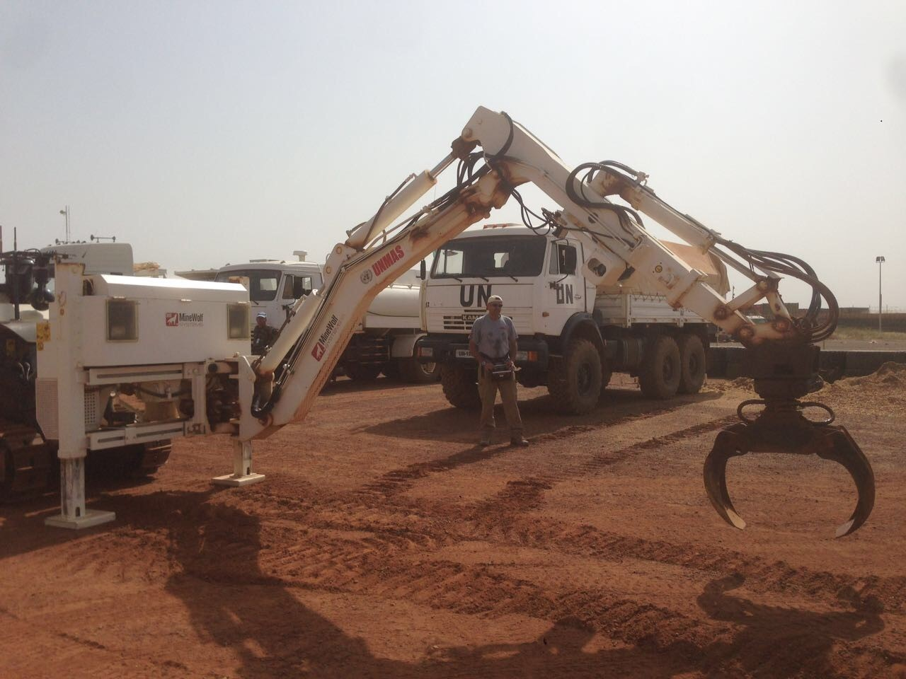 GCS maintained vehicle with robotic arm used in Mali EOD and C-IED operations