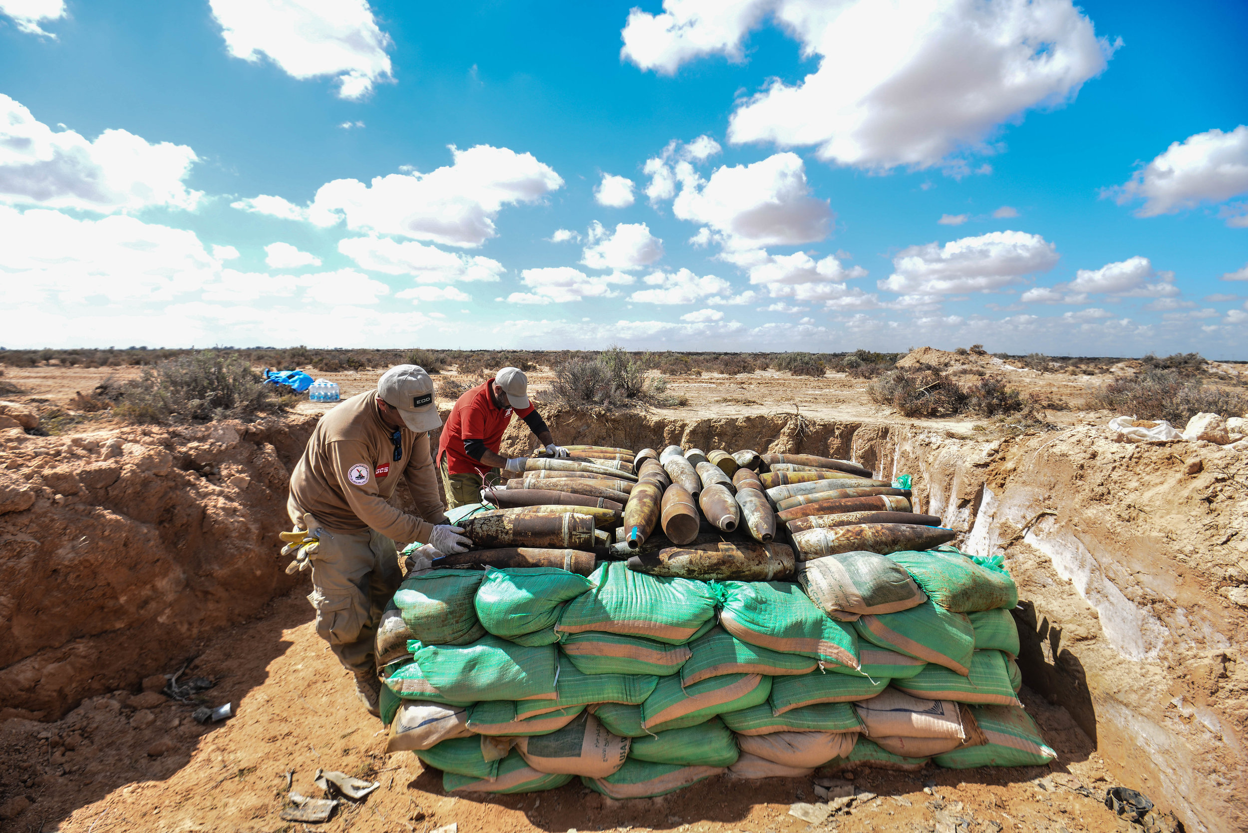 GCS EOD experts preparing controlled destruction of UXO collected at Misrata airport in April 2019