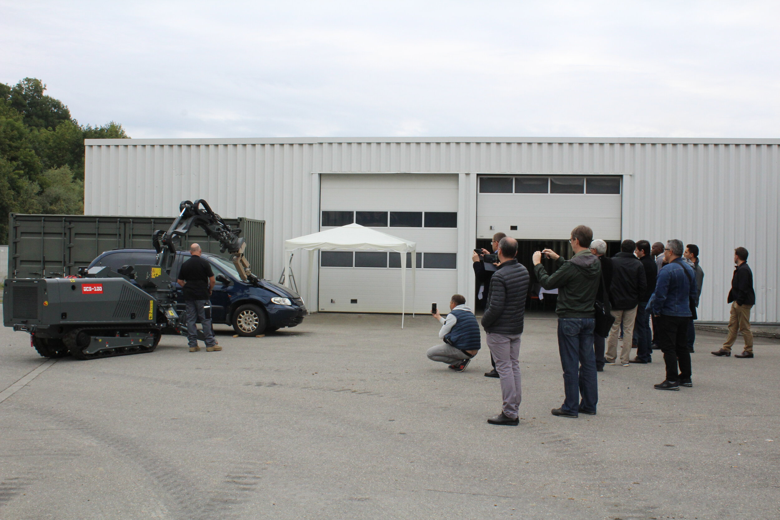 Senior Field Technician Chris Thompson demonstrates the GCS-100 in a vehicle-borne IED scenario