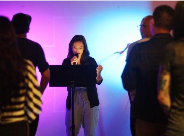 Brittni De La Mora preaching at The Uprising Y. A. at Cornerstone Church of San Diego.