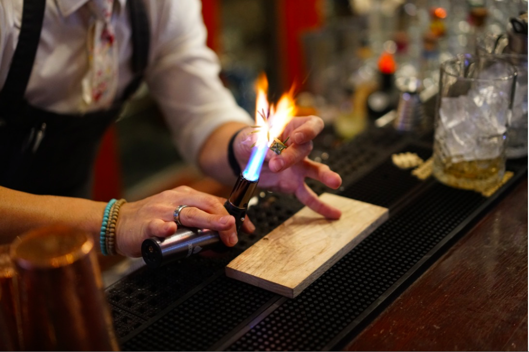 @Jasonfyu doesn't mind playing with fire. His personalized torch helps him get the job done