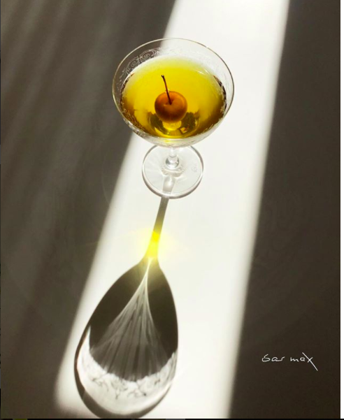 LE PROVENCE Elisir M.P. Roux, Benedictine, Suze, Orange Bitters, Orange Blossom Water and Flaming Absinthe Rinse, Baby Apple in Calvados.