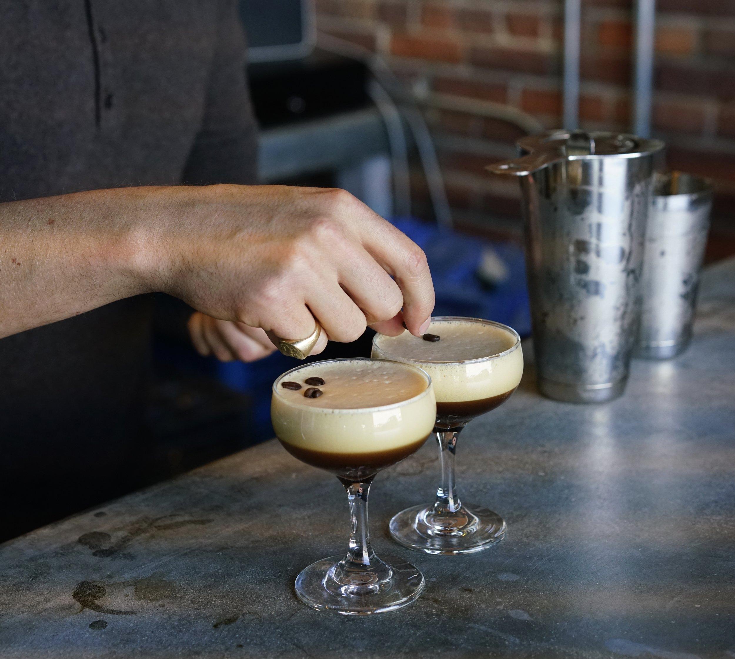 Two Espresso Martinis are born at Our / Los Angeles Vodka Distillery