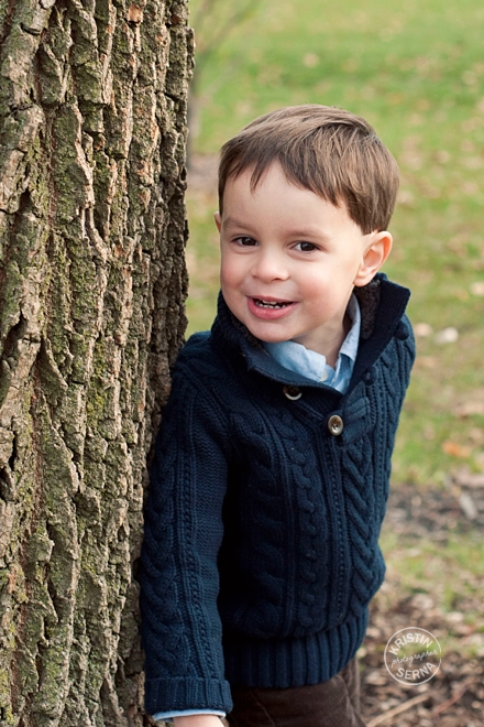 Before Gus decided he wanted to be on the move again (something I definitely encourage kids to do in portrait sessions) we took a variety of photos in front of this tree. It was in a park his family liked to visit.