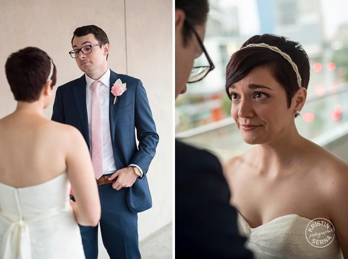 Emotional First Look Photography. Wedding Photographer Kristin Serna.
