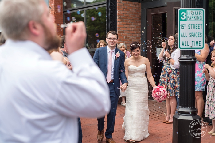 Wedding Bubble Exit. Photography by Kristin Serna.