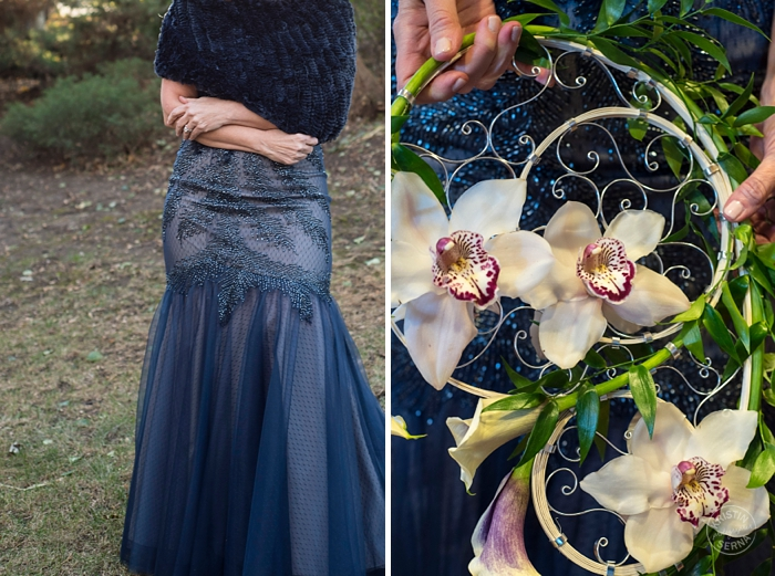 Blue Wedding Dress & Unique Bridal Flowers - Intimate Wedding Photography by Kristin Serna