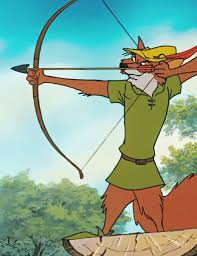 [Alternate text: The fox version of Robin Hood aims a bow, albeit a recurve bow, to his right.]