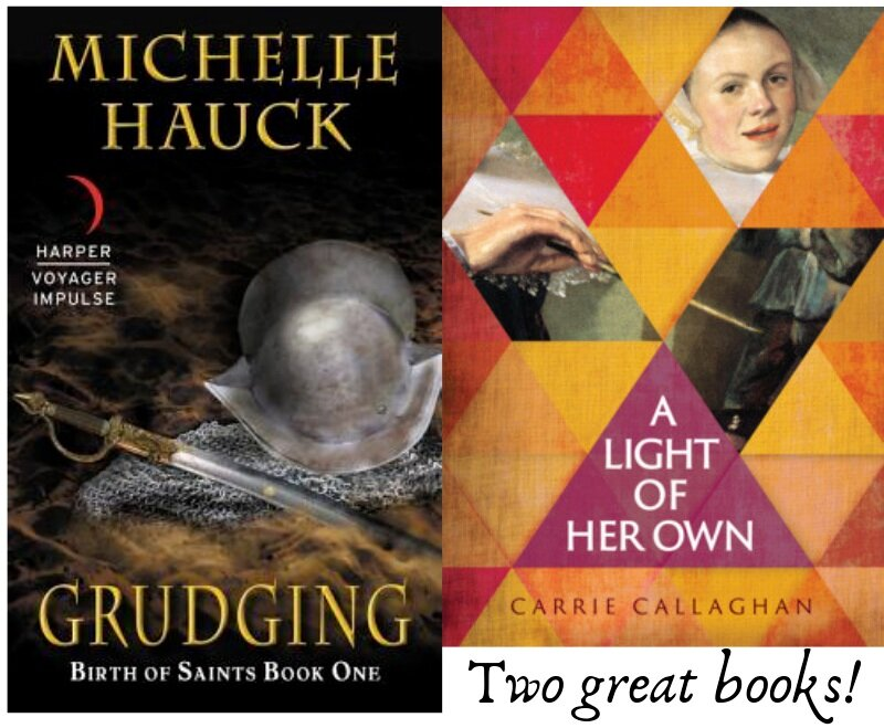 [Alternative text: Michelle Hauck's Grudging, with an image of a conquistador helmet and a sword, next to Carrie Callaghan's A Light of Her Own, with red and orange textured triangles and snippets of Judith Leyster's self-portrait.]