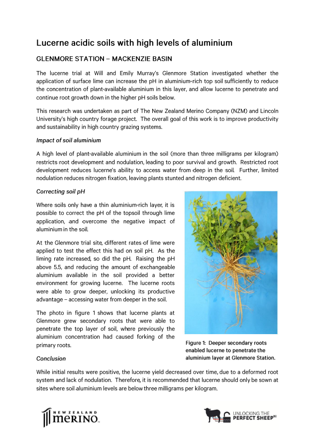 Click on the image to read about the challenges of growing lucerne in acidic soils with a high levels of plant-available aluminium at Glenmore Station.