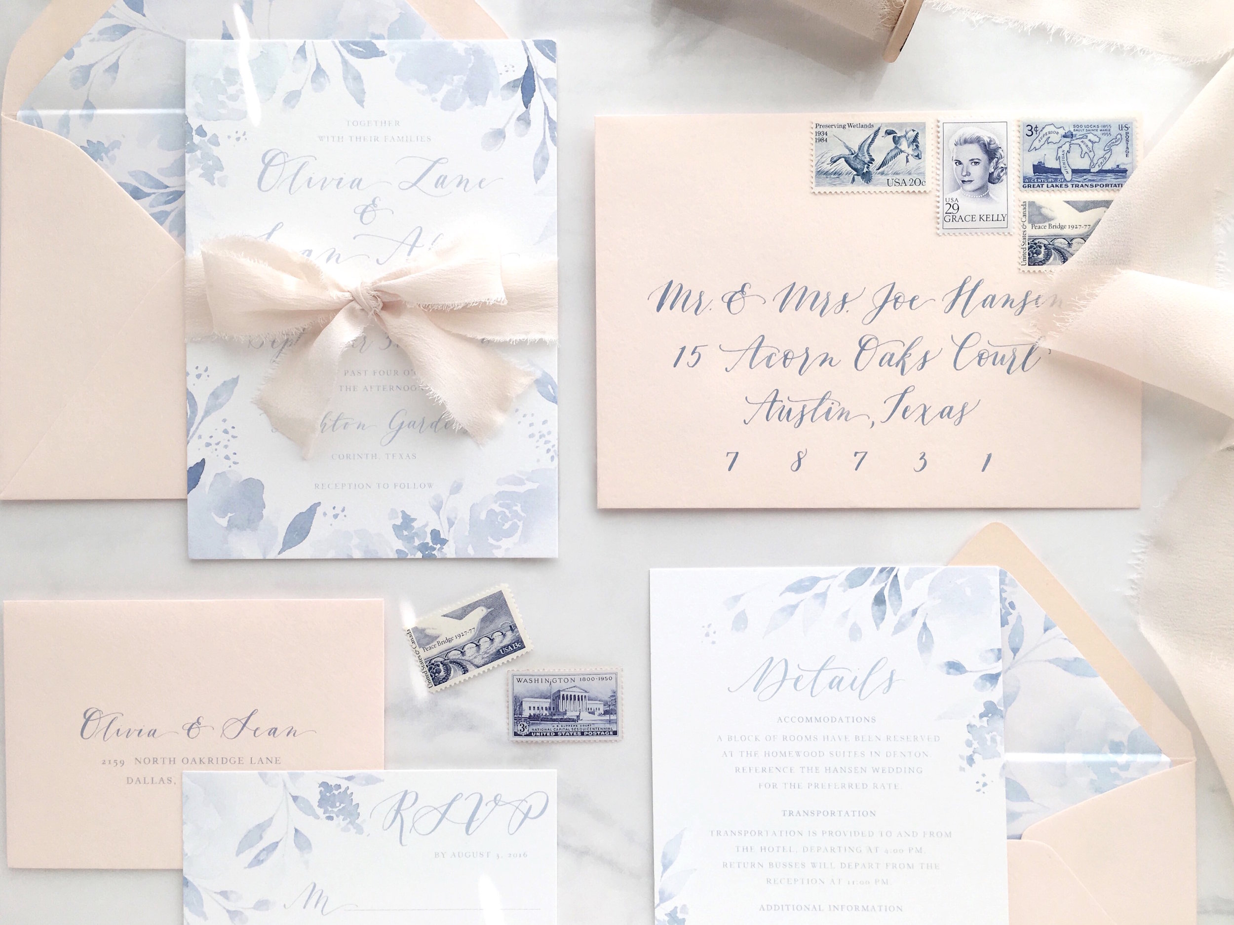 Blush and Blue Invitation Suite