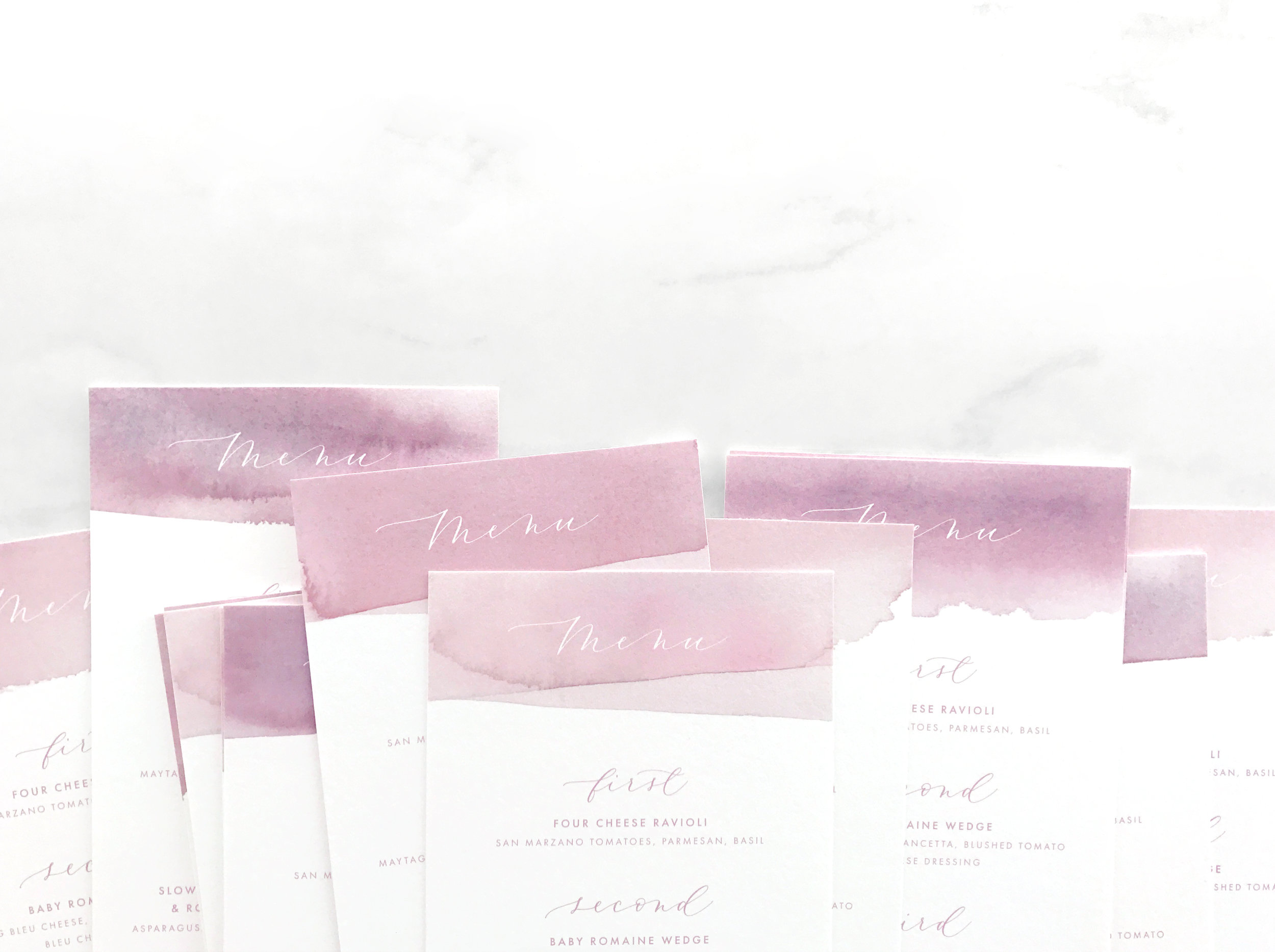 Dip Dye Watercolor Wedding Menus