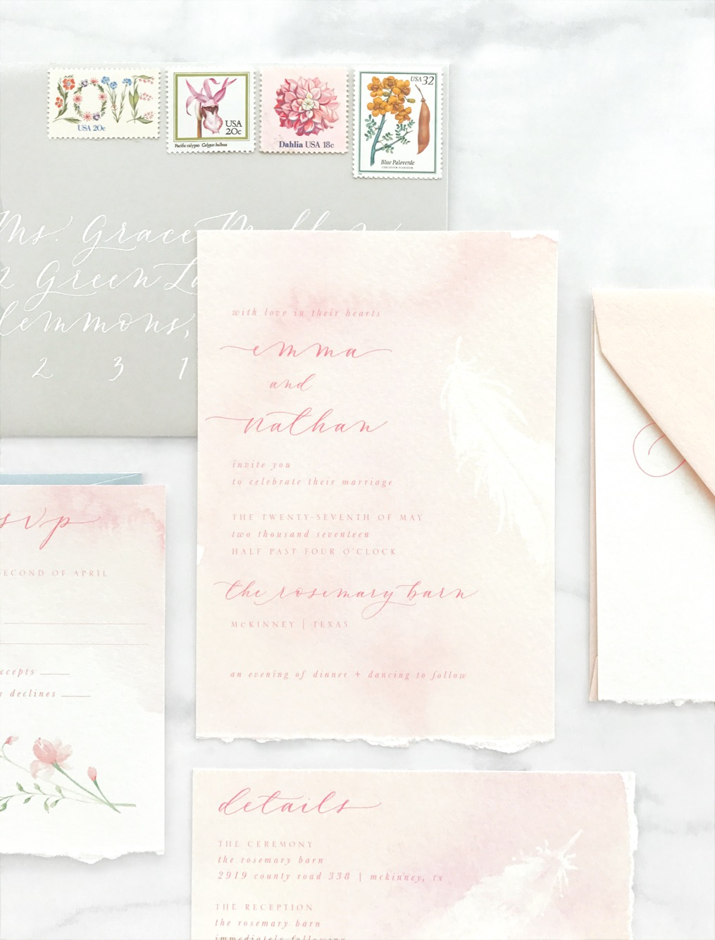 Blush Watercolor Invitation Suite