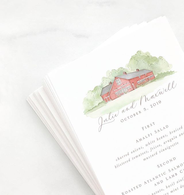 The cutest little venue watercolor to top off these reception menus.