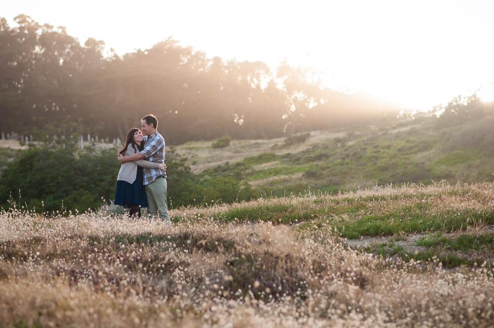 Couple in golden light at Fort Funston