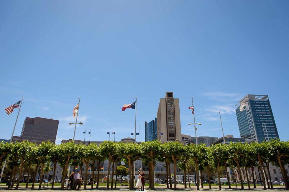 Flags at San Francisco City Hall