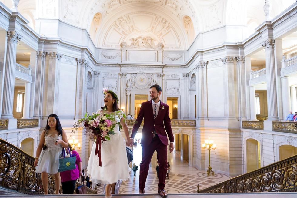 Bride smiling San Francisco City Hall wedding photography