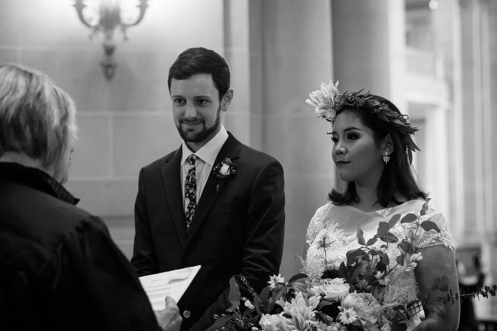 Bride and groom at SF City Hall