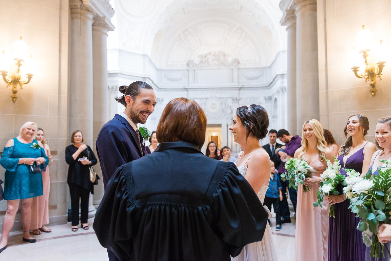 Bride and groom ceremony at San Francisco City Hall