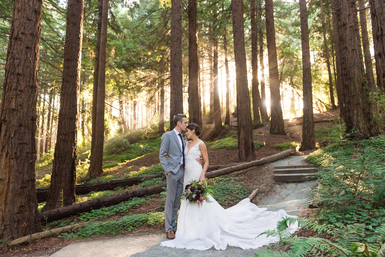 Bride and groom at UC Berkeley Botanical Garden