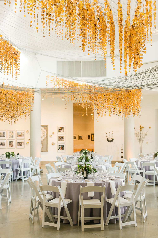 Modern art museum wedding decorations