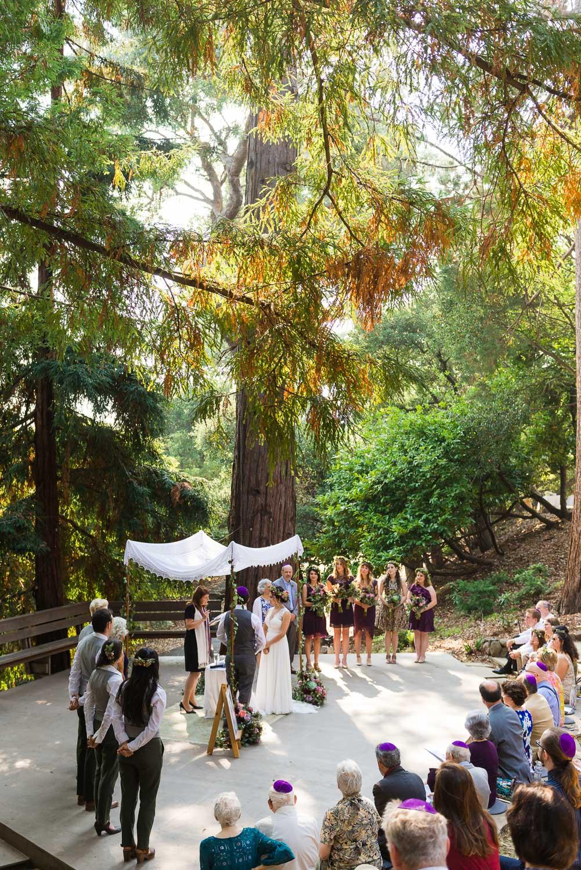 Jewish wedding ceremony in a Redwood grove in Berkeley