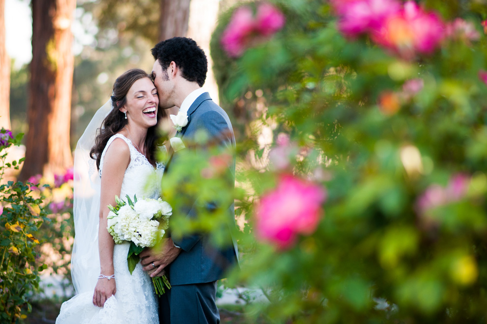 Bride laughing at San Jose Rose Garden