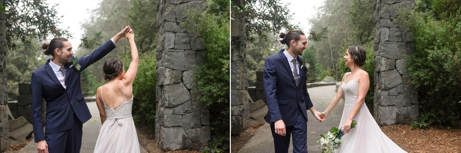Bride and groom kissing at Stern Grove