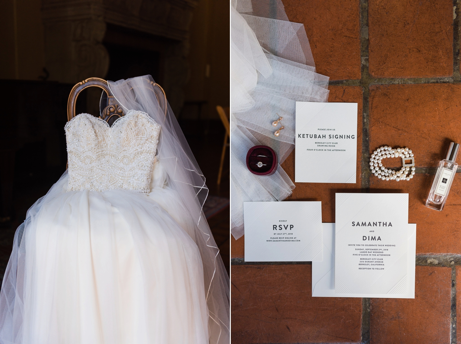 Wedding dress draped over a vintage chair and a wedding stationery suite
