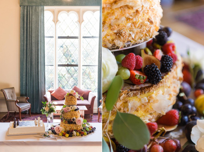 Wedding cake in ballroom at Julia Morgan's Berkeley City Club