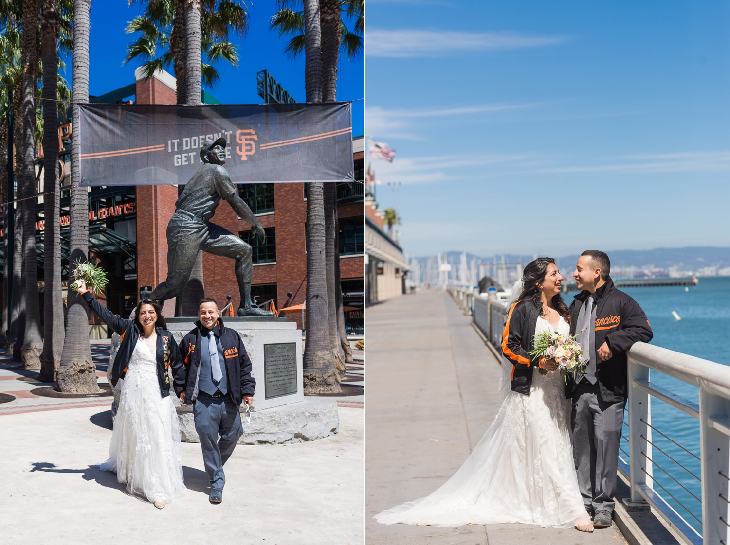 Bride and groom at San Francisco Giants' Stadium