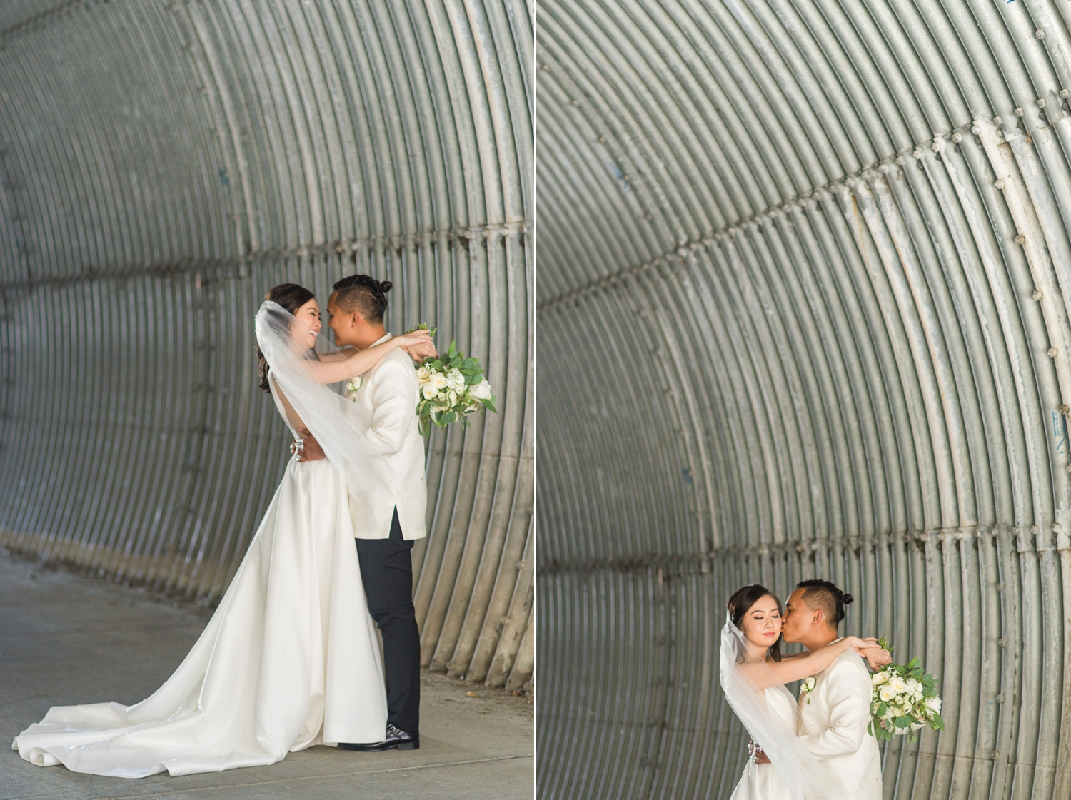 Bride and groom laughing in a tunnel