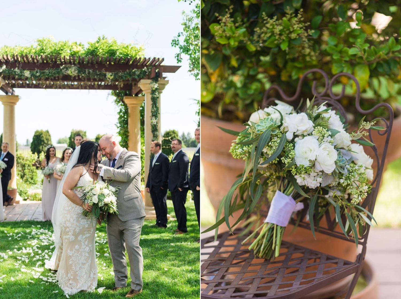 Wedding recessional at a vineyard