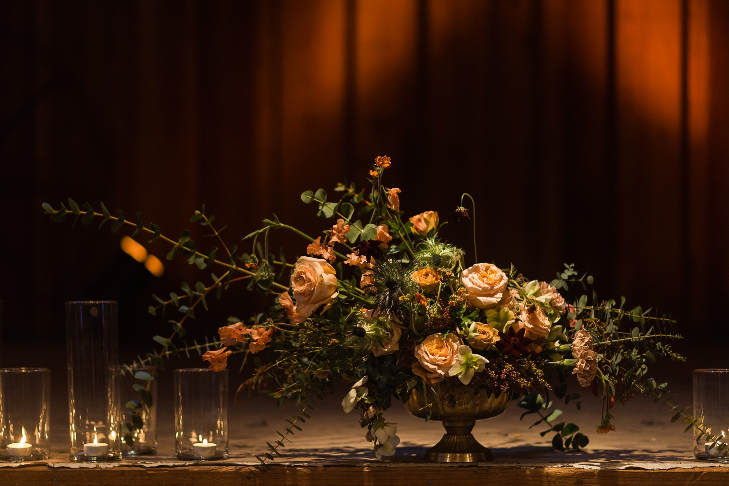 Wedding flowers on a wooden stage