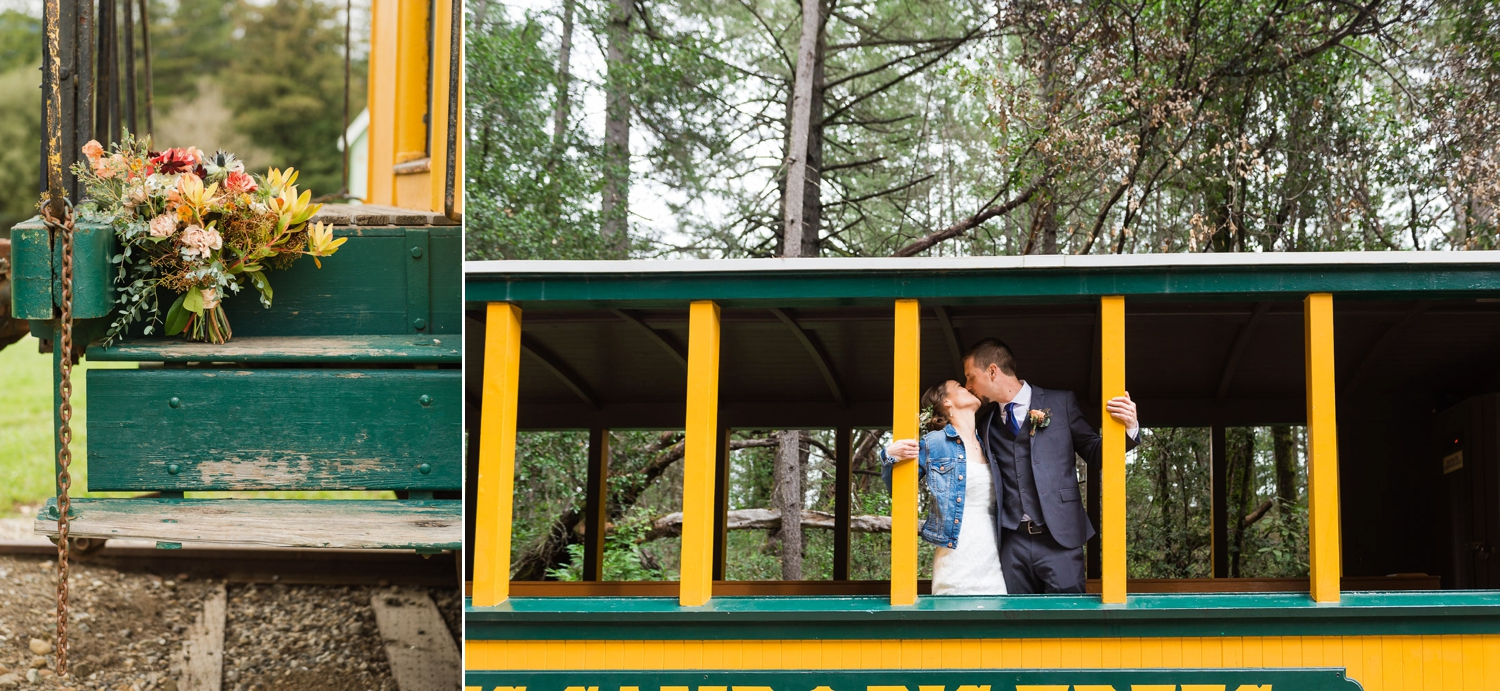 Bride and groom kissing on a train car