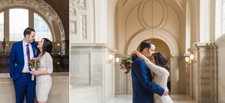 Bride and groom hugging at San Francisco City Hall