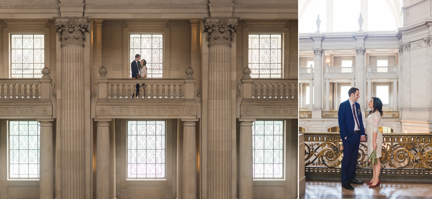 Bride and groom on the balcony at San Francisco City Hall