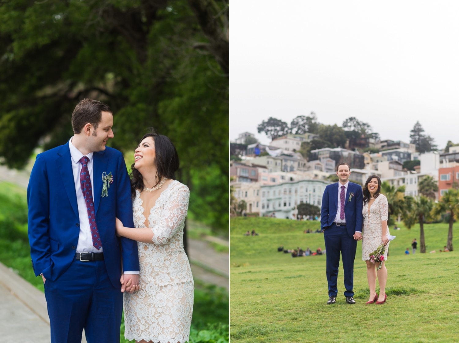 Bride and groom laughing at Dolores Park