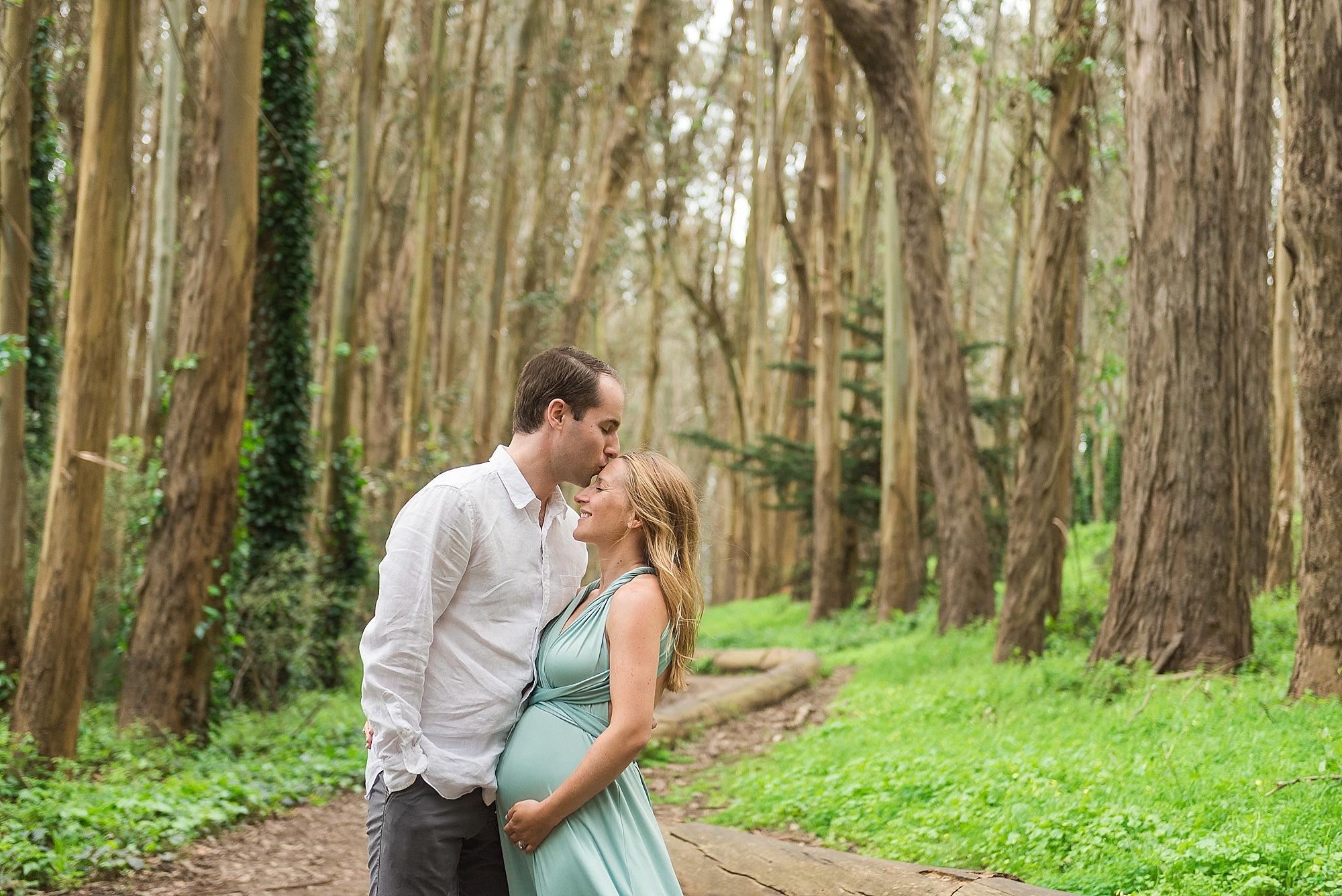Married couple under eucalyptus trees