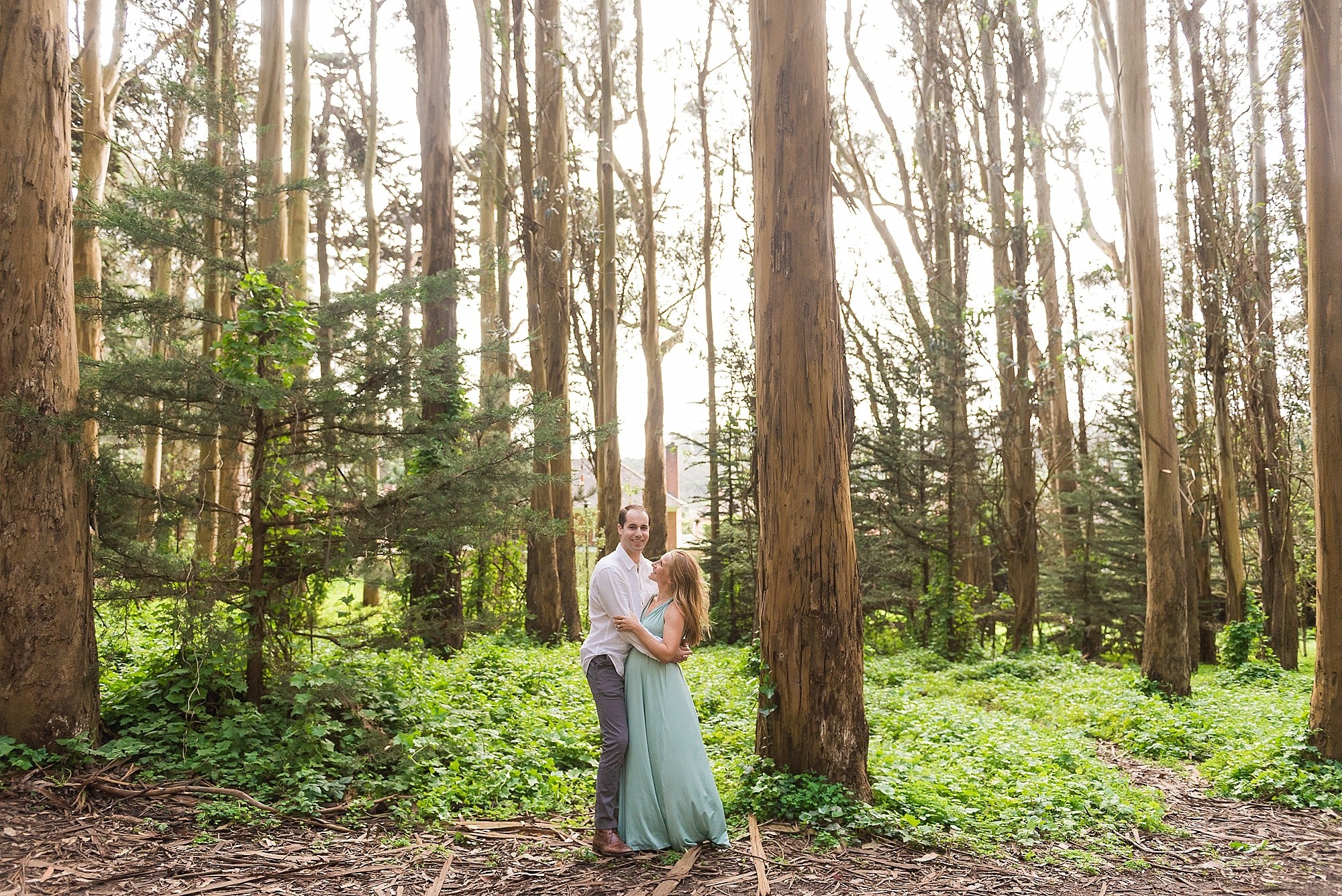 Couple posing under trees at sunset