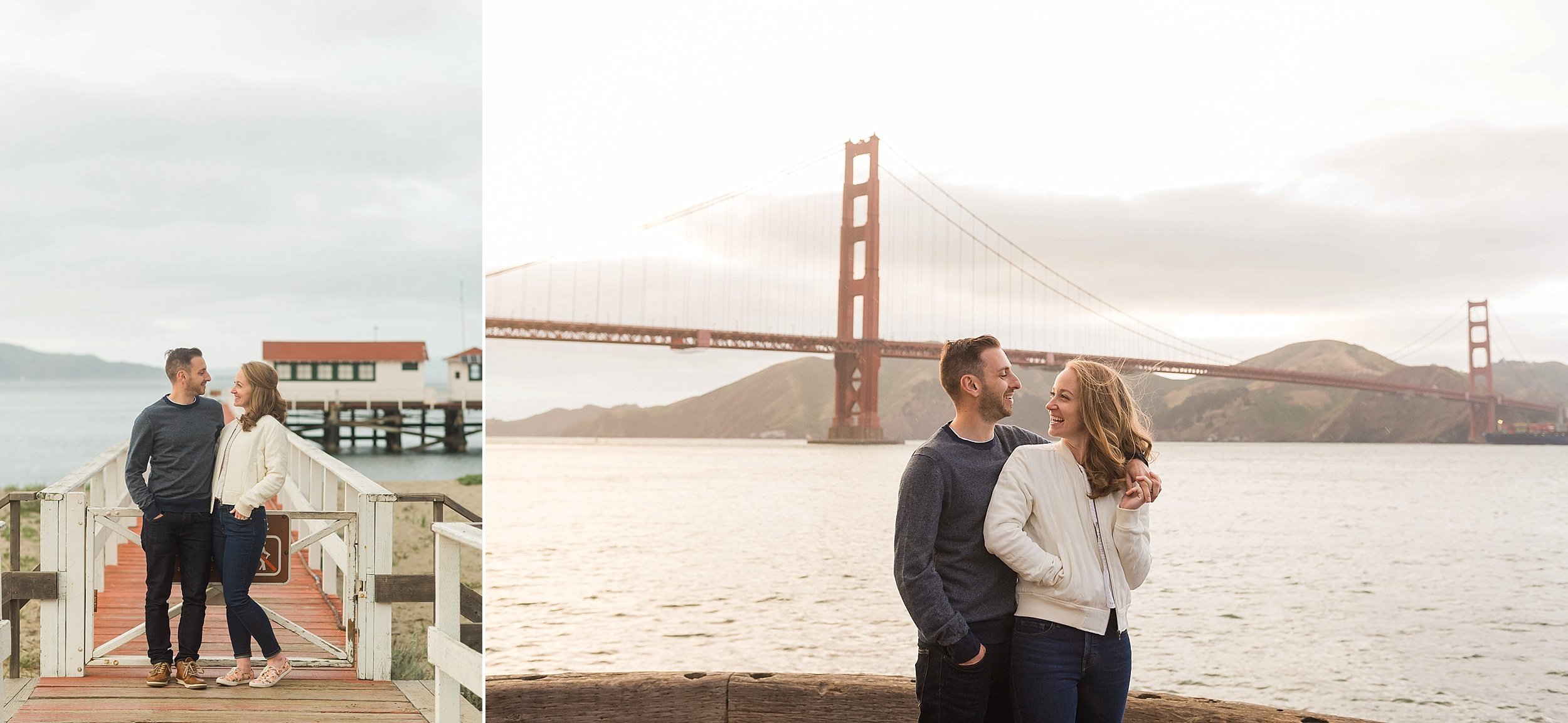 Couple standing in front of the San Francisco Bay
