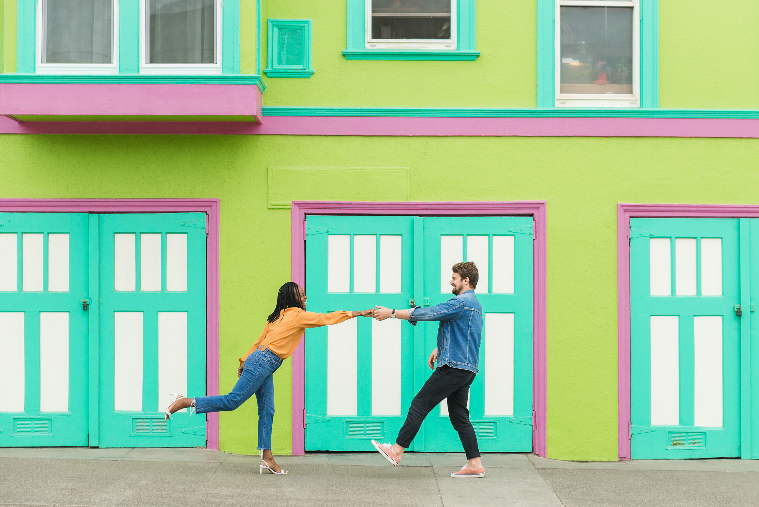 Colorful San Francisco Outer Sunset Engagement