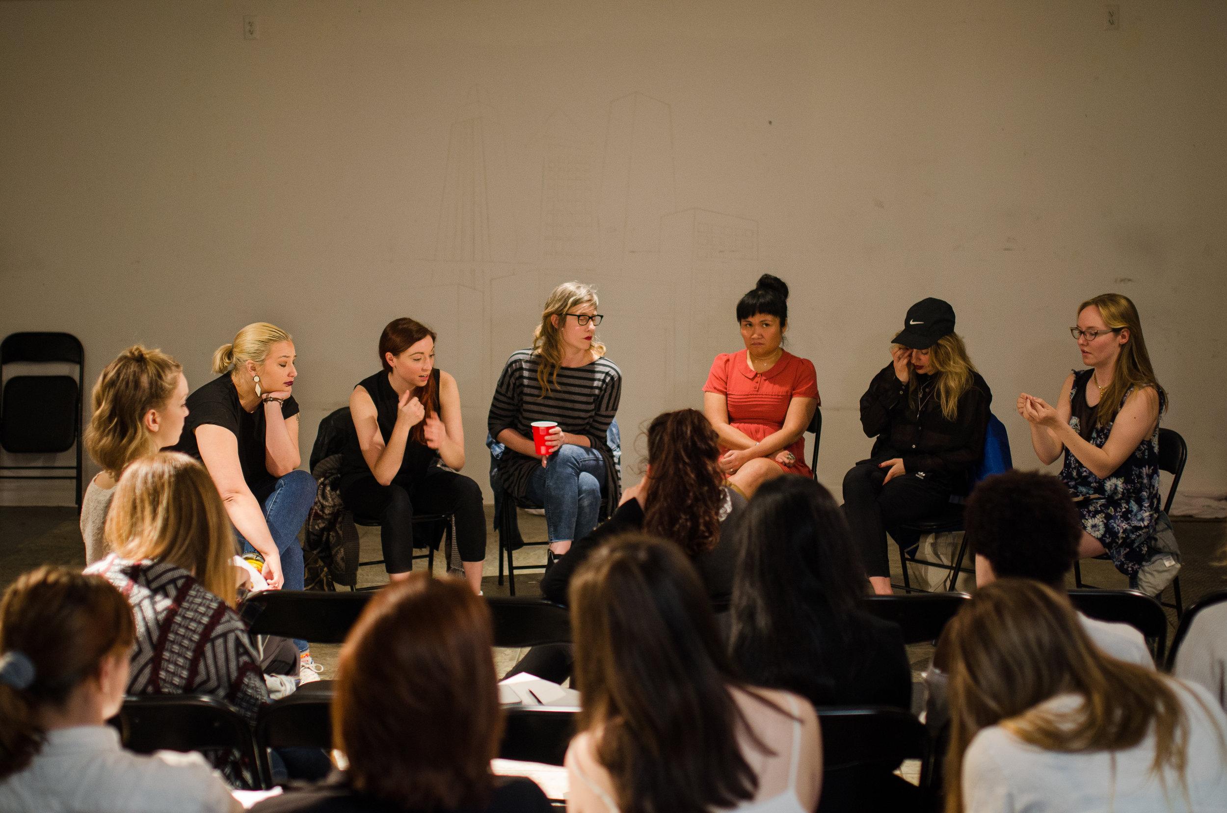 Toronto professionals come in to talk to participants. From left to right: Mel Hague, Victoria Urquhart, Andrea Donaldson, Nina Lee Aquino, Karen Knox and Facilitaror Claren Grosz. (Photo: Samantha Polzin)